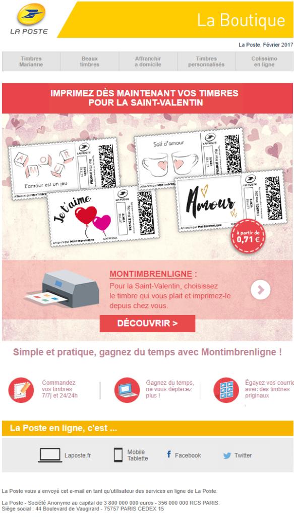 Newsletter Saint Valentin - La Poste