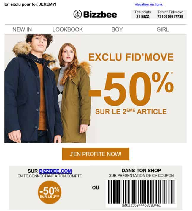 Bizbee : coupon de promotion par email
