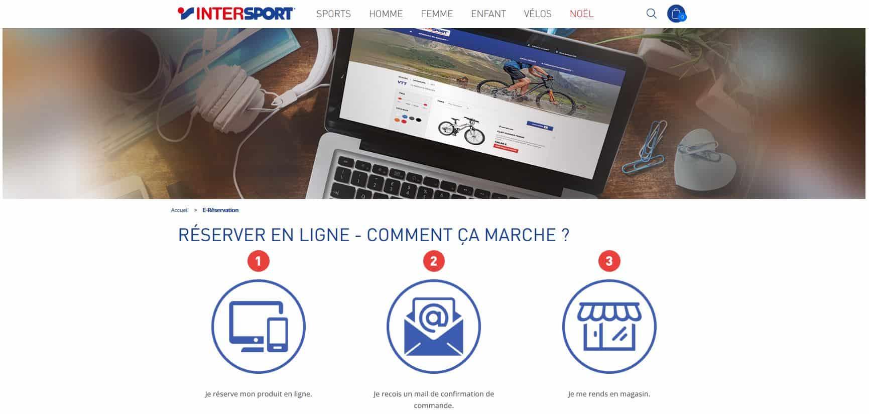 Indication pour profiter de l'e-réservation chez Intersport