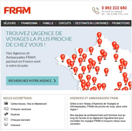 Fram : email pour trouver l'agence la plus proche de chez vous