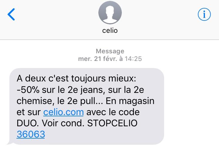 SMS Celio : couponing pour la saint-valentin